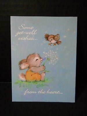 AGC Forget Me Not Famous Classics Get Well Card Bunny Blowing Dandelion at Bird