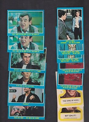 1976 TOPPS HAPPY DAYS TRADING CARDS LOT OF 13 w/2 STICKERS - FONZIE!