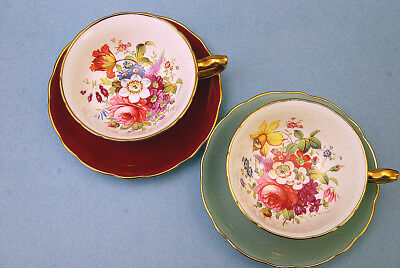 Fine 4 Pc  Hammersley Rose Bouquet Wide Cups & Saucers