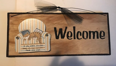 Want the best seat house move Cat WELCOME funny wood cats kitten decor sign 5x12