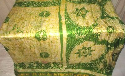 Cream Green Pure Silk 4 yard Vintage Sari Saree Store Gift for Mother NR #98J03
