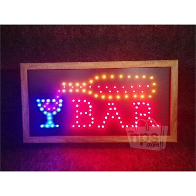 "Animated Motion LED Bar Sign W/ Wooden Frame, 10""x19"", Dual Mode"