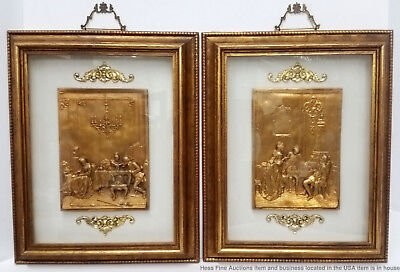 Pair Vintage Gilt Relief  Plaques 18th c Courting Scenes Shadow Box Framed