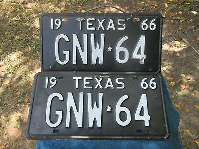 Vintage Texas Automobile  License Plate Pair 1966 Gnw 64