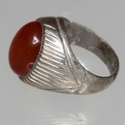 Intact Late Post Medieval Greek Silver Plated Ring With nice Gem Stone