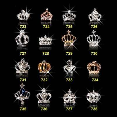 New Chic 10Pcs 3D Nail Art Glitter Crown Alloy Crystal Rhinestones Decoration