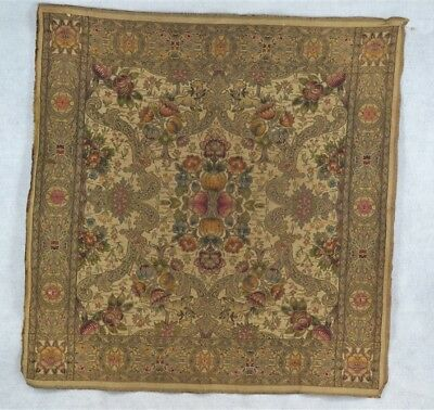 "antique tapestry hanging 33"" Victorian  beige pink green woven original 1800"