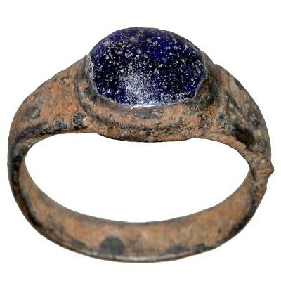 Intact Roman Bronze Ring With Nice Blue Stone Circa 300-400 Ad-Wearable
