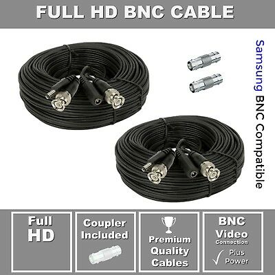 2 Pack, Premium 30' HD Extension Cable, for Wisenet SDH-C85105BF, SDH-C85085BF