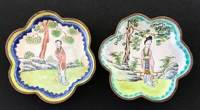"Chinese Cloisonne Pair of Small Dishes (2) w Designs of a Woman 3-1/2"" Dia VTG"
