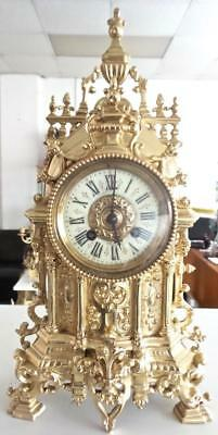 Fine antique French 19th c Gilt Bronze 8 Day Bell Striking Mantle Clock by Marti