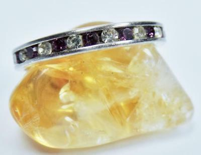 Vintage Channel Set Amethyst Clear Crystal Sterling Full Eternity Ring Band