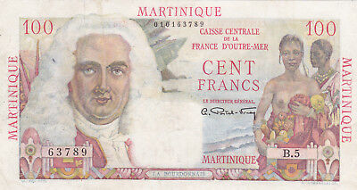 100 Francs Fine Banknote From Martinique 1947-49!pick-31