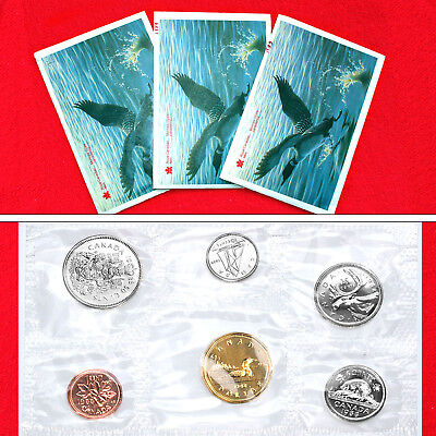 1988 & 89 Canadian 6-Coin Bu Collector Mint Sets Loon Dollar (3 Sets) (18 Coins)