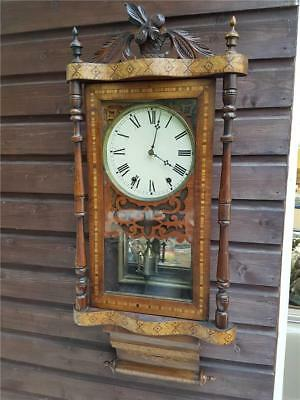Antique Inlaid Mahogany Scroll end American Wall Clock