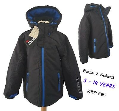 Ex M+S Boys Coat Quilted Hooded Winter Warm School 7-12y Thinsulate RRP £35 BNWT