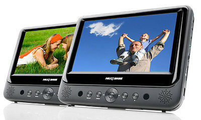 """NextBase SDV49-AC Twin 9"""" Screen Full In-Car & Portable DVD Players with USB/SD"""
