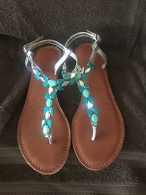 5a25cd1dc0be8 Matisse Rhinestone Teal and silver Embellished Sandals Flip Flops Size 6
