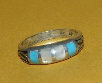 Men's~Native~Navajo~Old~Pawn~Sterling~Silver~Turquoise~Mother~Pearl~Ring~Size 11