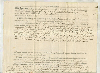 Three  Land Contract Legal Document Re Parks Foster Amherst Ohio1859 1868 1859