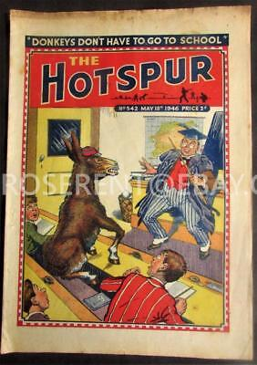 1946 The HOTSPUR  with Donkey in Classroom cover - No 542 May 18th