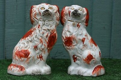 SUPERB PAIR of MID 19thC STAFFORDSHIRE RUSSET RED & WHITE SPANIEL DOGS 1850s