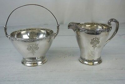 Wm. Rogers & Sons Triumph Silver Plated Creamer And Basket With Handle Set