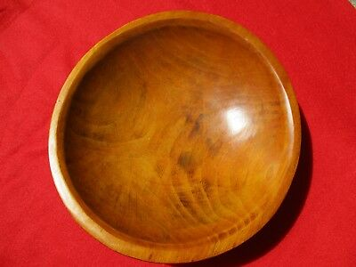 Vintage Small Wood Wooden Coffee Table Bowl Out of Round Folk Art Flat Bottom