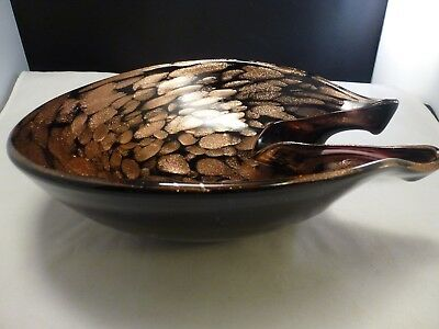Mid Century Murano Black Amethyst Gold Bronze Flecks Italian Art Glass Bowl  10""