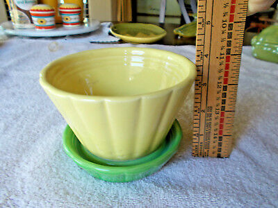 Vintage Shawnee Yellow and Green Flower Pot + Tray  # 534 USA!!