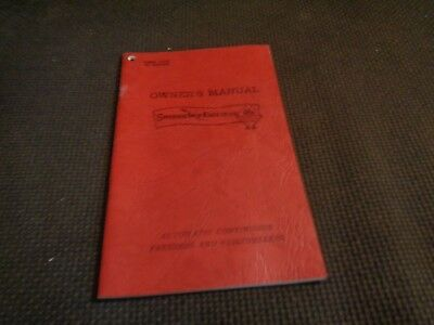 Manual for Sweden Freezer Automatic Continuous Freezes Frigidmixers 1955