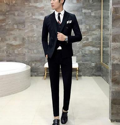 Mens Double breasted Blazer Lapel Coat Vest Slim Fit Jacket Pants Suits 3Pcs Hot