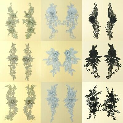 1Pair Floral Embroideried Lace Applique Bridal Dress Doll Patch DIY Sewing Craft