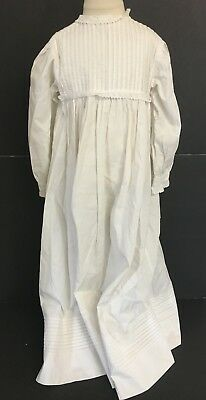 VINTAGE VICTORIAN OFF WHITE LONG CHRISTENING GOWN DRESS w TUCKS & BUTTON BACK