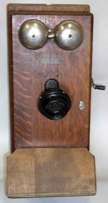 Antique Northern Electric Oak Crank Wall Telephone For Parts Or Restoration