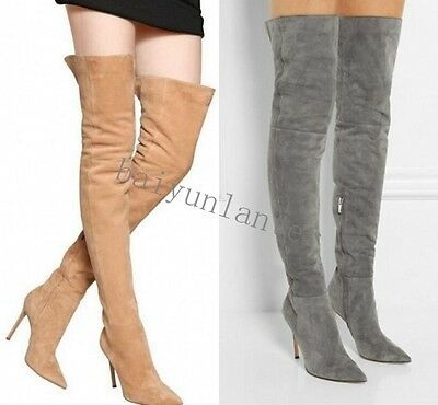 Sexy Lady's Thigh High Stilettos High Heel Suede Stretch Over Knee Long Boots Sz