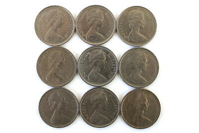 Lot of Nine 5 New Pence Coins From The United Kingdom Dated 1968-1980