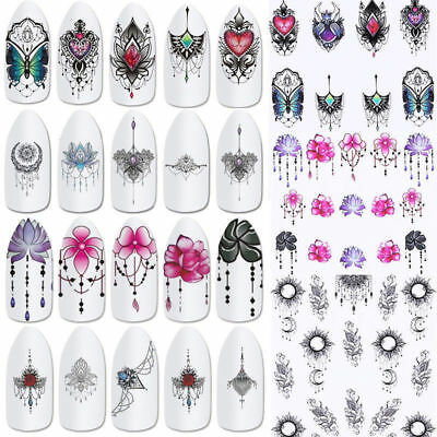 24pcs/lot Dreamcatcher Feather Moon Water Decals Nail Art Transfer Stickers Tips