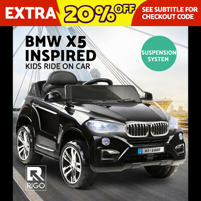 RIGO Kids Ride-On Car BMW X5 Inspired Electric Toys Remote 12V Battery Black