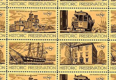 1971 - HISTORIC PRESERVATION - #1440-43 Full Mint Sheet of 32 Postage Stamps