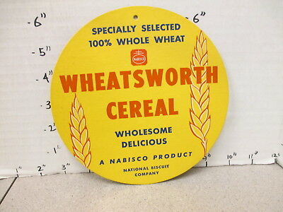 NABISCO 1940s grocery store display sign WHEATSWORTH cereal box CIRCULAR 2 side