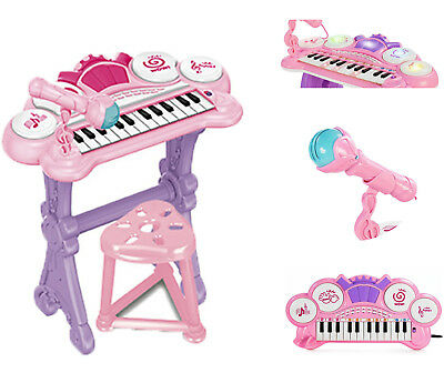 Kids Electronic Keyboard Organ Piano With Lights 24 Keys Drum Microphone & Stool