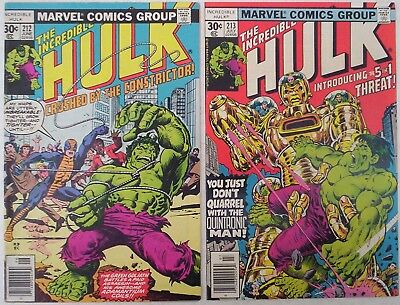 "1977. TWO x ""The INCREDIBLE HULK"" Marvel comics Vol.1 #'s 212 & 213. Fine minus."