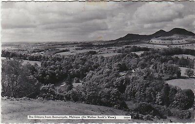 Old Real Photo Postcard Eildons From Bemersyde Melrose
