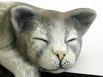 Shelf Edge-Laying Grey Cat Hand  Painted Figure Very Different Artist Signed
