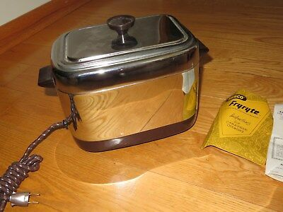 Nesco Fryryte Electric Deep Fryer UNUSED MINT VINTAGE 1959 appliance chrome