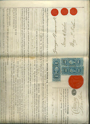 1869 Land/deed Deal Legal Document James Fisher & George Bramwell Philadelphia