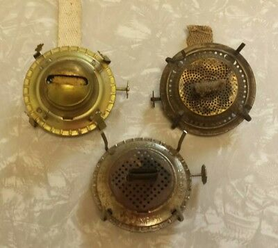 3 Antique Brass Single Oil Burners Vintage Lamp Light Parts