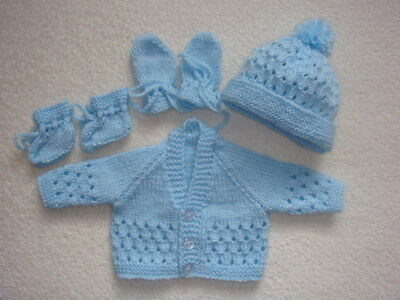 "Blue V Neck Cardigan, Bobble Hat,mittens,bootees 14"" Chest Prem Baby"