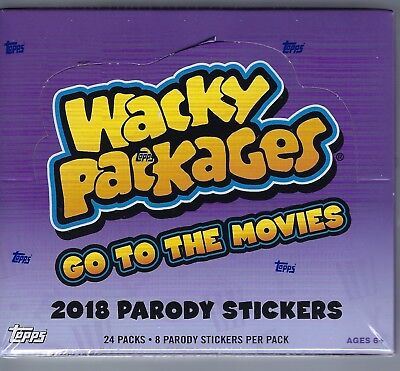 2018 Topps Wacky Packages Go To The Movies Sticker Cards 24pk Retail Display Box